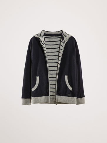 REVERSIBLE COTTON CARDIGAN WITH HOOD