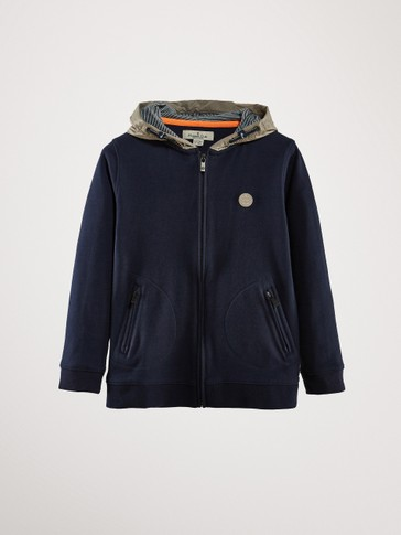 NAVY BLUE COTTON HOODED SWEATSHIRT