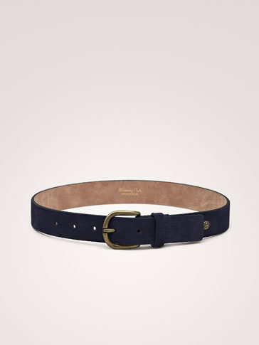 SUEDE BELT WITH LOGO