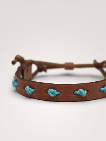 LEATHER BRACELET WITH CONTRAST STRAND