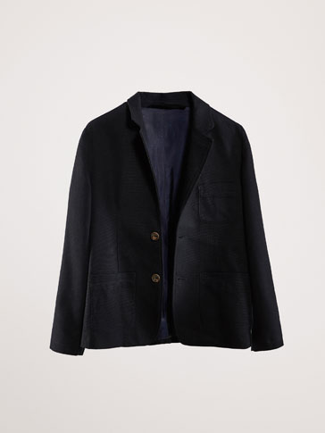 SLIM FIT TEXTURED NAVY BLUE BLAZER WITH PATCH POCKETS