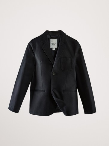 SLIM FIT TEXTURED NAVY BLUE BLAZER WITH WELT POCKETS