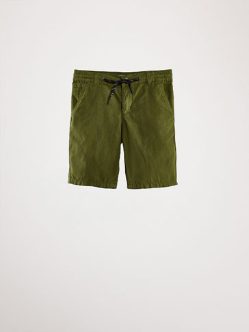 COTTON DRAWSTRING BERMUDA SHORTS