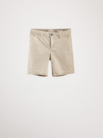 PALM TREE COTTON BERMUDAS