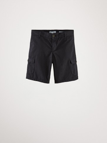 NAVY COTTON CARGO BERMUDA SHORTS