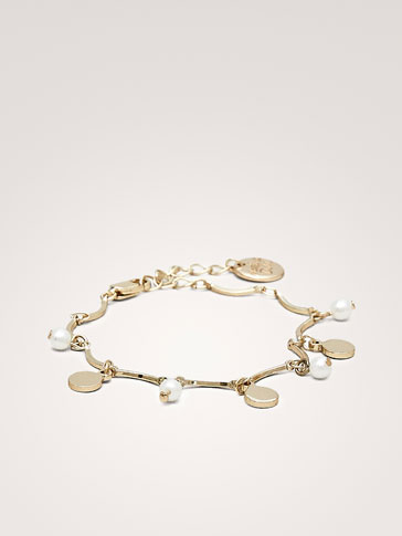 COIN AND PEARL BEAD BRACELET