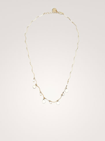 COIN AND PEARL BEAD NECKLACE