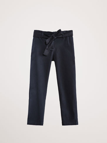 COTTON JOGGING TROUSERS WITH TIE BELT
