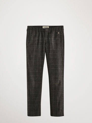 SLIM FIT CHECKED COTTON TROUSERS