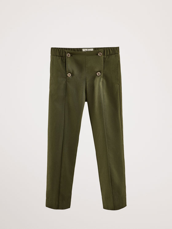 Massimo Dutti - SLIM FIT LYOCELL TROUSERS WITH BUTTON DETAIL - 1