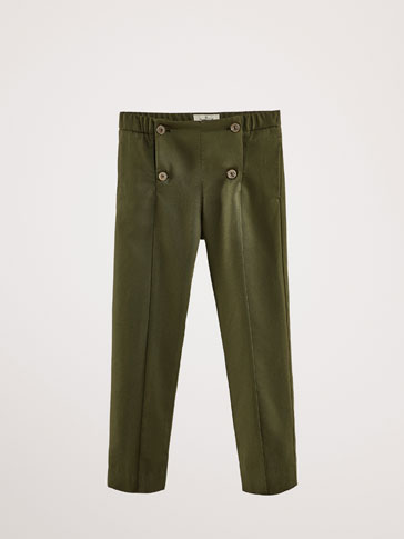 SLIM FIT LYOCELL TROUSERS WITH BUTTON DETAIL