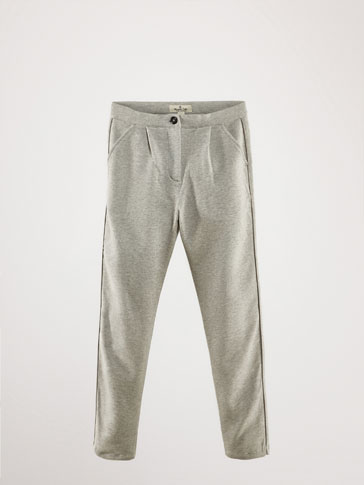 KNIT JOGGING FIT TROUSERS WITH SIDE PIPING