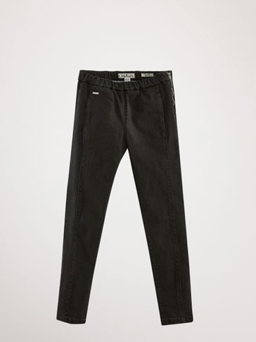 BLACK SEAMED SKINNY JEANS