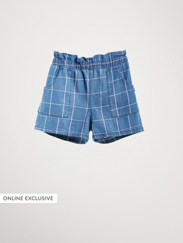 CHECK COTTON DENIM SHORTS
