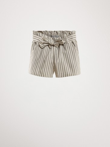 STRIPED COTTON LINEN BERMUDA SHORTS WITH BELT