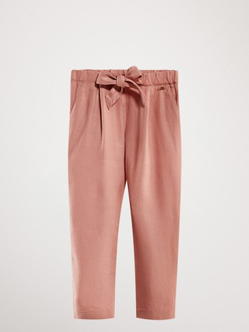 JOGGING FIT LINEN TROUSERS WITH BOW