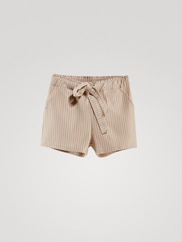 STRIPED COTTON SHORTS WITH TIE WAIST