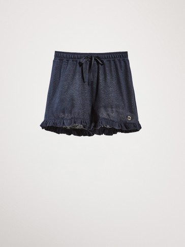 NAVY BLUE 100% LINEN SHORTS WITH RUFFLE TRIMS
