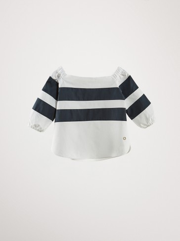 COTTON BLOUSE WITH CONTRAST STRIPES