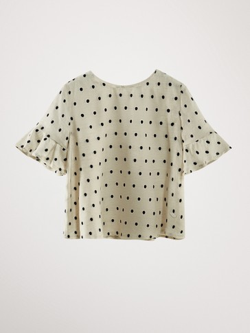 DOTTED MESH BLOUSE