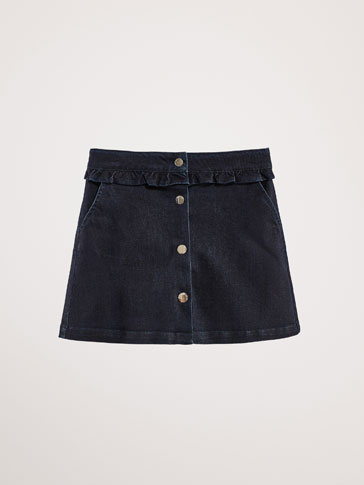 DENIM SKIRT WITH RUFFLE TRIM