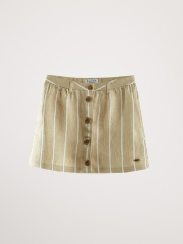 STRIPED 100% LINEN SKIRT