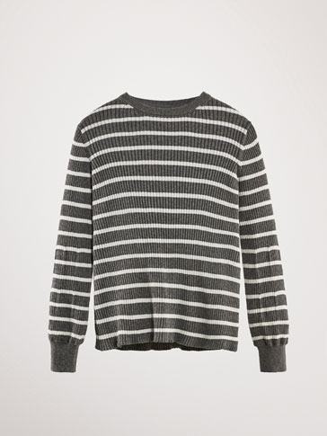 STRIPED RIBBED COTTON SILK SWEATER