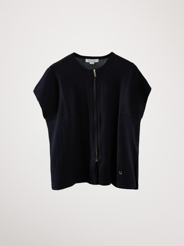NAVY BLUE COTTON CAPE CARDIGAN