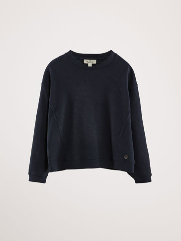 NAVY BLUE TEXTURED COTTON SWEATSHIRT
