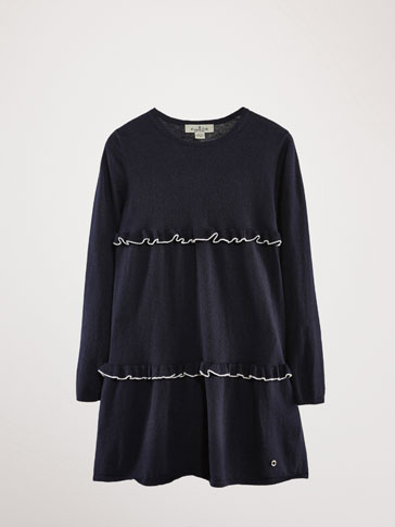 NAVY BLUE COTTON CASHMERE KNIT DRESS WITH RUFFLE TRIMS