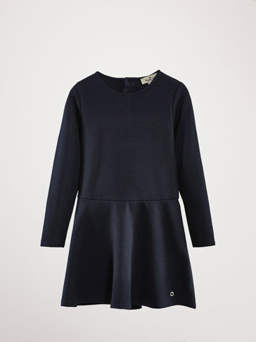 NAVY BLUE KNIT DRESS WITH TRIMS
