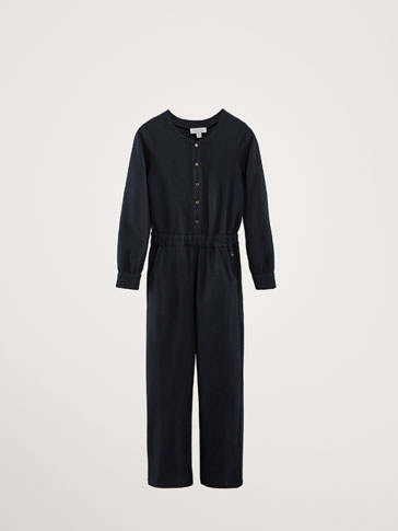 NAVY KNIT JUMPSUIT
