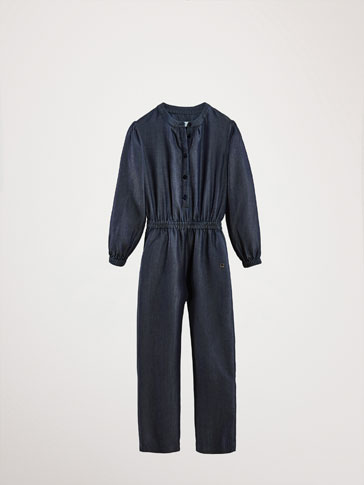DENIM JUMPSUIT WITH ELASTIC TRIMS