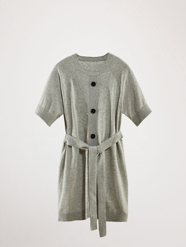 BELTED KNIT DRESS WITH BUTTONS