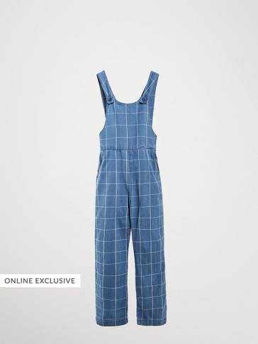 CHECK COTTON DENIM JUMPSUIT