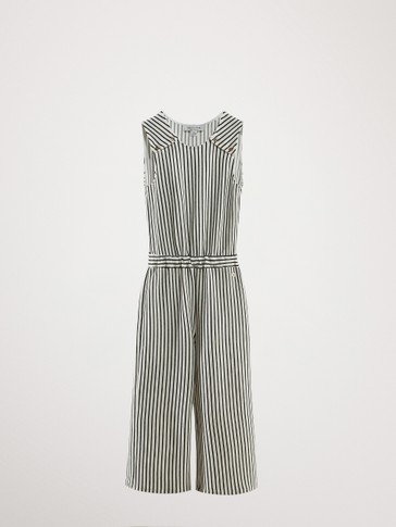 STRIPED COTTON JUMPSUIT