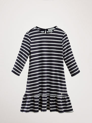 STRIPED DRESS WITH RUFFLE