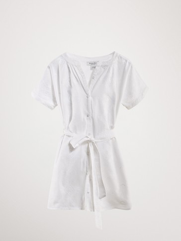 EMBROIDERED COTTON SHIRT DRESS WITH TIE BELT