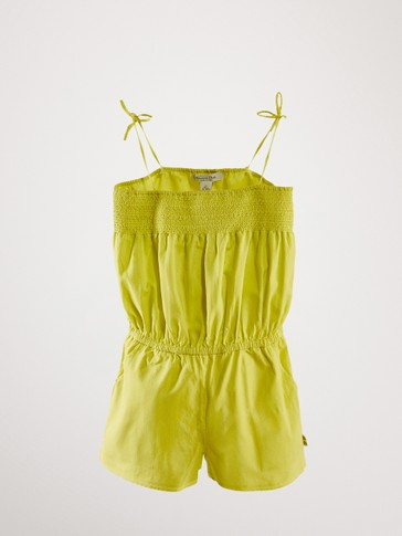 COTTON JACQUARD PLAYSUIT WITH BOWS
