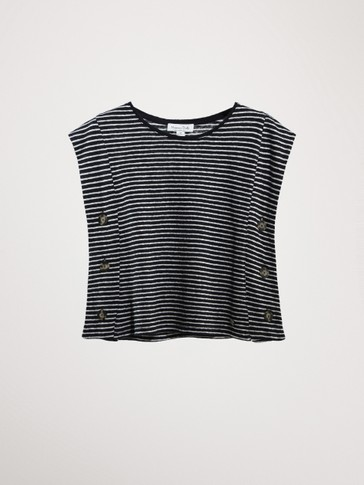 STRIPED COTTON AND LINEN CAPE TOP