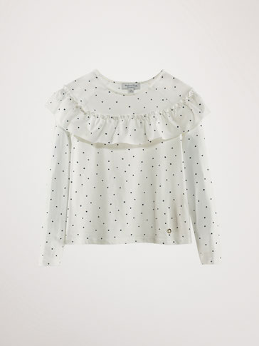PRINTED COTTON T-SHIRT WITH RUFFLE TRIM