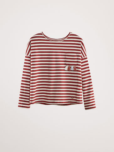 STRIPED COTTON T-SHIRT WITH TASSELS