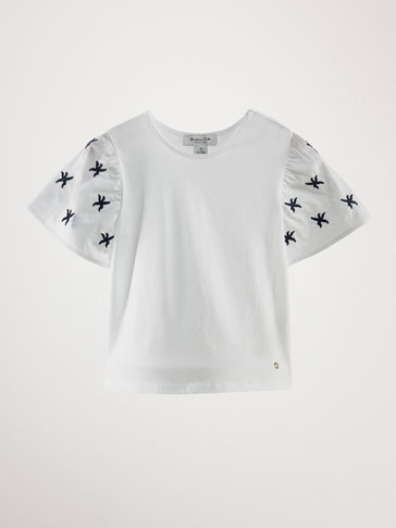 COTTON T-SHIRT WITH EMBROIDERED STARS