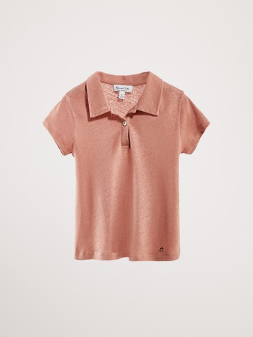 PLAIN LINEN AND COTTON POLO SHIRT