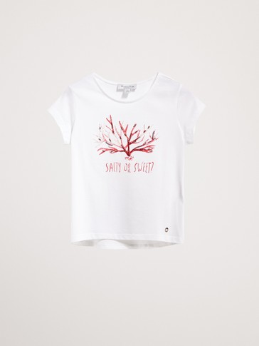 COTTON T-SHIRT WITH CORAL PRINT