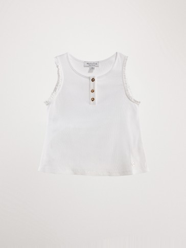 RIBBED COTTON TOP WITH LACE TRIM