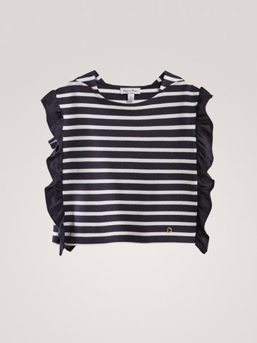 STRIPED COTTON CAPE TOP WITH RUFFLES