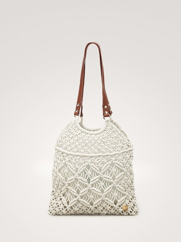 CROCHET LEATHER SHOULDER BAG