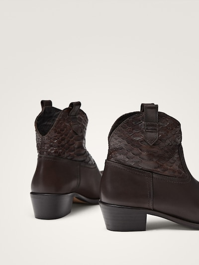 fea366f029f BROWN LEATHER COWBOY ANKLE BOOTS