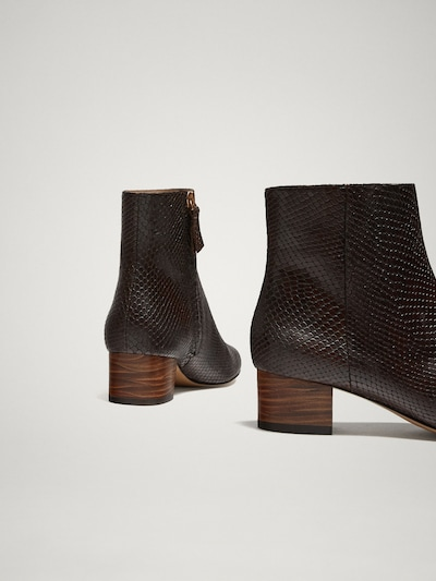 1cbeedfccacc BROWN ANIMAL PRINT LEATHER ANKLE BOOTS - Women - Massimo Dutti